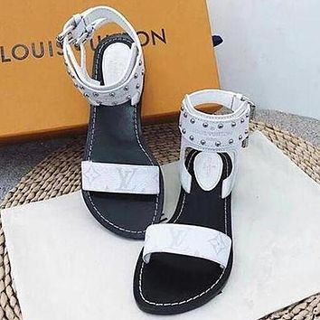 Louis Vuitton LV One word with flat bottom high boots Women Slippers Sandals Shoes