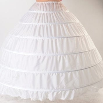 High Quality White 6 Hoops Petticoat Crinoline Slip Underskirt For Wedding Dress Bridal Gown In Stock = 1933173252