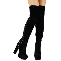 Haylow-02 Black Red Suede Thigh-high Platform Boots Chunky Heels with Stars