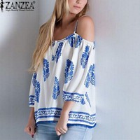Brand New ZANZEA Summer Blusas Women Sexy Spaghetti Strap Printed Tops Fashion Off Shoulder Ethnic Loose Plus Size Blouse