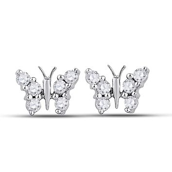 10k White Gold Round Diamond Butterfly Bug Earrings 1/5 Cttw