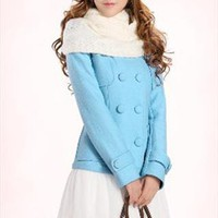 free scarfRRP £276 blue coat cashmere white lace skirt from YRB