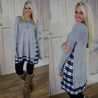 Girly Glam Tunic (Gray) - Piace Boutique