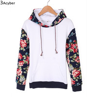 2016 Hoodies Women Patchwork Sweatshirt Flower Printed Sweatshirts Full Sleeve Autumn Women Hoodies Pullover Tracksuit with Hat