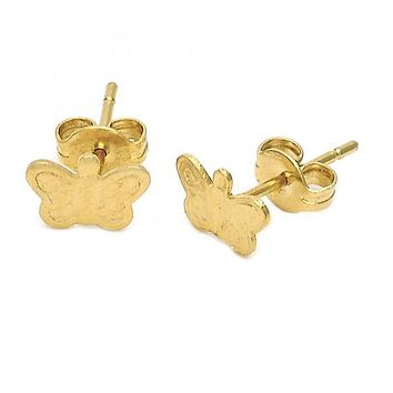 Gold Layered 5.126.065 Stud Earring, Butterfly Design, Diamond Cutting Finish, Golden Tone