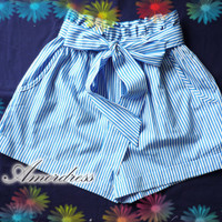 Hulala Summer Shorts - Jazzy Blue Stripe Cute Bow Tie Blue Shorts for Cool Summer -Size S-M-