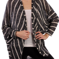 Long Sleeve Open Front Striped Knit Cardigan