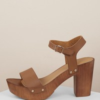 Buckled Ankle Wood Block Heel Platform Sandals