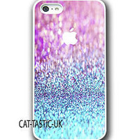 Iphone 4 4s 5 case cover apple glitter blue/pink sparkle quirky summer design!