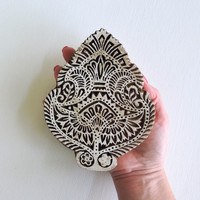 Hand Carved Wood Stamp: Large Indian Printing Block Stamp, Ornate Flower or Wings, for Textiles, Ceramics, Pottery, Bohemian Decor, India