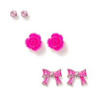 Crystal, Carved Rose and Polka Dot Bow Stud Earrings Set of 3  | Claire's