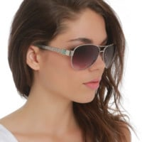 Mint Floral Cutout Arms Aviator Sunglasses
