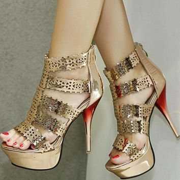Platform Open Toe Short Boot Stiletto High Heels Sandals