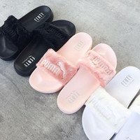Rihanna Fenty Leadcat Fur Slipper shoes