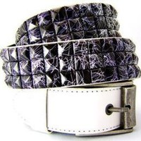 ROCKWORLDEAST - Studded Belts, 3 Row Black Studded Belt, White Leather