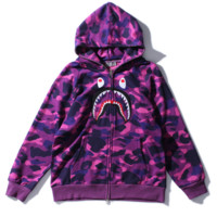 Fashion BAPE SHARK  Men personality camouflage shark long sleeve zipper hooded coat