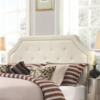 Three Posts Oliver Upholstered Headboard in Cream White