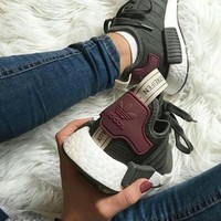 adidas nmd green burgundy casual running sport sneakers shoes