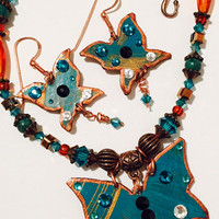 Butterfly in Dark Turquoise and Copper, with Dangles, set