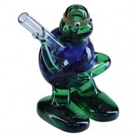 Glass Turtle Pipe - Green and Blue Glass Hand Pipe - Colored and Color Changing Glass - Smoking Pipes - Grasscity.com