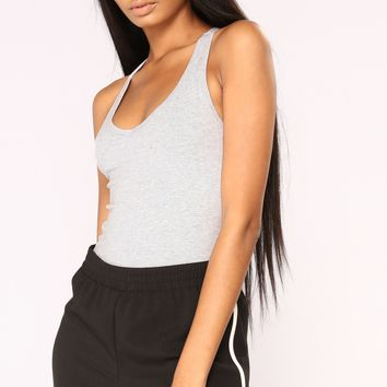 Zoey Racer Back Bodysuit - Heather Grey