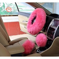 Pink/Purple/ Black/Gray High Quality Long Plush Warm Steering Wheel Cover Woolen Handbrake Car Accessory