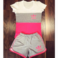 "Women Fashion ""Adidas"" Print Short sleeve Top Shorts Pants Sweatpants Set Two-Piece Sportswear Pink+grey"