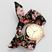 Floral Pink Fabric Watch