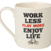 Work Less Play More Mug design by Wild & Wolf - Default