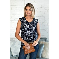 Just Having Fun Spotted Ruffle Sleeve Top : Navy
