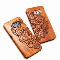 Natural Wood Case For iPhone X 8 7 6 6s Plus SE 5s Samsung Galaxy S6 S7 edge Plus S5 S4 Note 8 7 5 Genuine Carving Wooden Cover