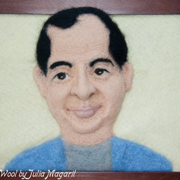 Framed 3D soft portrait. Needle felted. Handmade. 100% wool.
