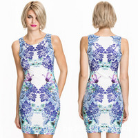 2016 Popular Women's Fashion Floral Printed Round Neck Sexy Retro Vintage Casual Sleeveless Party Beach Summer Mini One Piece Dress _ 3130