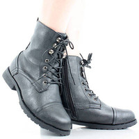 Womens Hiking Boots Work Shoes Flat Heels Combat Ankle Motorcycle Lace Up Biker