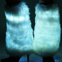 White Electric Styles LED Light Up Fluffies : Glowing Fluffy Leg Warmers