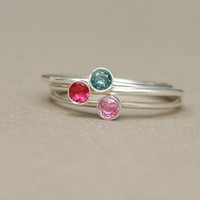 birthstone ring ONE stackable birthstone ring by MeadowbelleMarket
