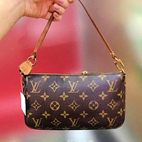 LV Small Bag Louis Vuitton Wallet Bag Women Wrist Bag Coffee Print