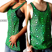 Luminous Glow in the dark green star Shirts by Luckseeclothing