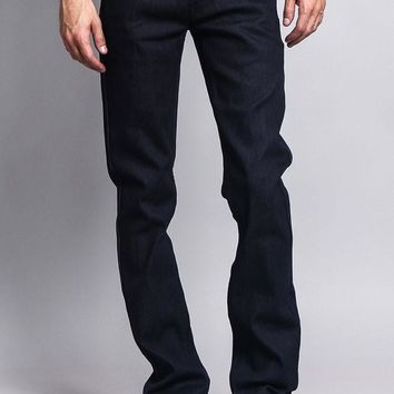 Men's Slim Fit Raw Denim Jeans (Indigo)