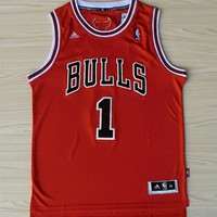 Derrick Rose Chicago Bulls 1 Super Rare NBA Red Jersey Derrick Rose Chicago Bulls Basketball Jersey All Stitched and Sewn Any Size S - XXL