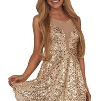 Juniors Fit and Flare Sequins Mesh Scoop Neck Sleevless Formal Party Mini Dress
