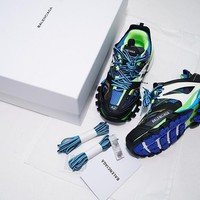 DCCK B301 Balenciaga Tess S. Gomma Trek Low Top Sneakers Black Blue Green
