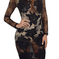 Black Sheer Lace Midi Dress with Built-in Bodysuit