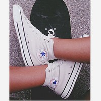 Converse All Star Classic Fashion Couple Casual High Tops Sports Comfort Shoes Sneakers White I/A