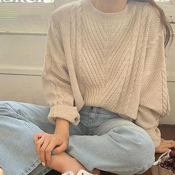 Loose Twist Sweater Women Fashion Solid Color Pullovers Tops Female Knitted Long Sleeve Jumpers Ladies Sweaters