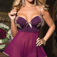 Plumtastic Babydoll and G String, Purple Mesh Babydoll