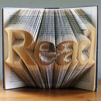 Folded Book Sculpture  READ  Gifts for Book by LucianaFrigerio