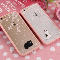 Cherry tree kitten mobile phone case for iPhone 7 7 plus iphone 5 5s SE 6 6s 6 plus 6s plus + Nice gift box 072301