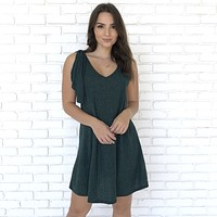 Left My Mark Party Dress In Hunter Green