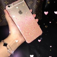 Rose Gold Ombre Glitters Handmade Sparkle Fading Transparent Phone Case 5/5s/6/6s/6s plus for iPhone & Samsung s5/s6/s6 edge+ Clear